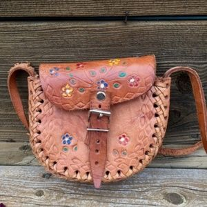 VINTAGE 60s 70s One of a Kind Handmade Leather Bag
